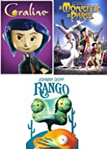 In the Dark Movies Animated Collection Monster in Paris + Coraline & Rango Johnny Depp DVD Triple Feature