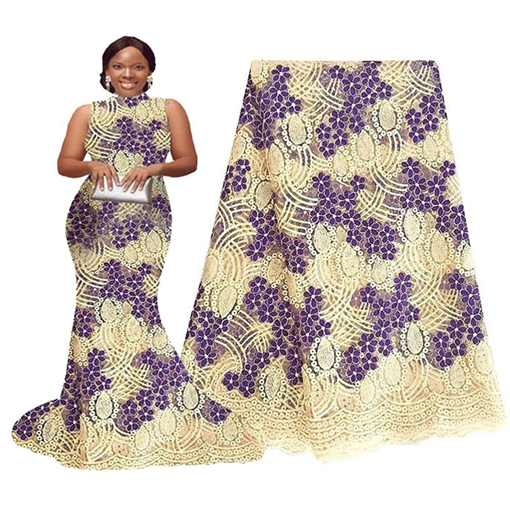 pqdaysun 5 Yards African Net Lace Fabrics Nigerian French Fabric Embroidery and Rhinestones Guipure Cord Lace (cream)