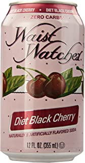 Waist Watcher Black Cherry Diet Soda, Protected With High-Density Foam, 12 Oz. Cans (One 6-Pack)