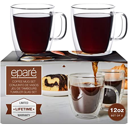 12 Oz Glass Coffee Mugs Set Of 2 Double Wall Clear Glasses Insulated Glassware With Handle Large Espresso Latte Cappuccino Or Tea Cup By Eparé Coffee Cups Kitchen Dining