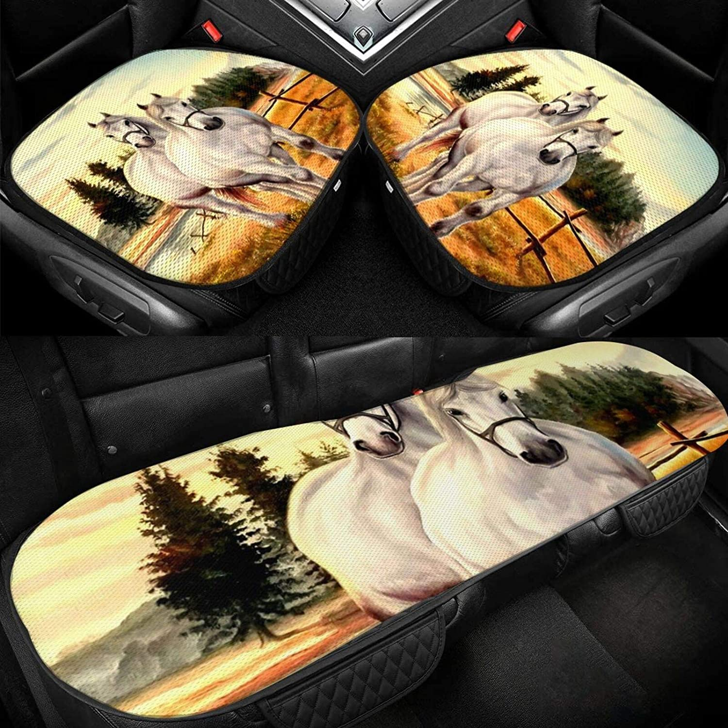 Car Seat Cushion 5 popular Covers Horse-White Special price for a limited time Cover Men Wo Bottom