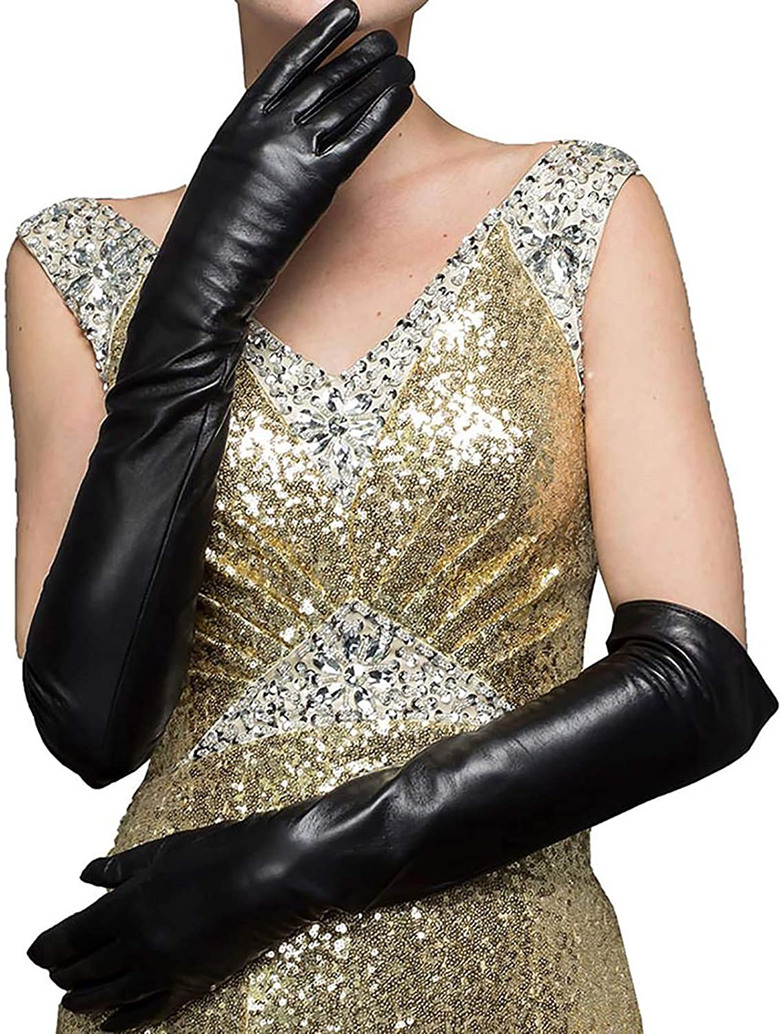 CosplayNow Women's Long Warm Gloves Elbow Length Leather Gloves Cold Weather Gloves