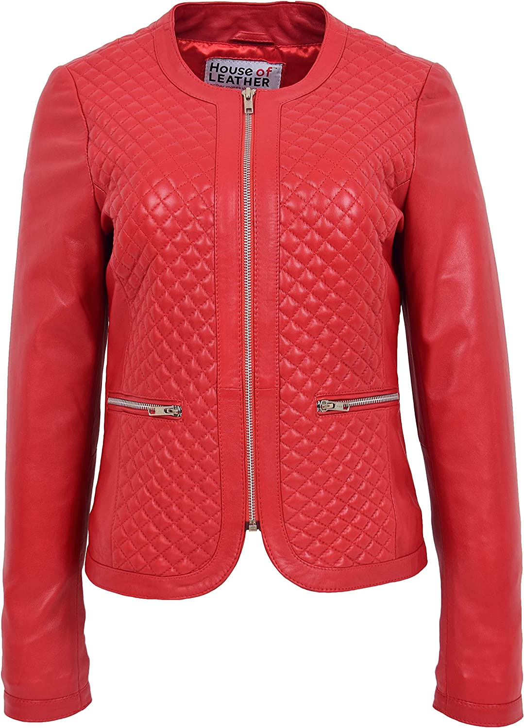 Womens Soft Leather Collarless Jacket Casual Quilted Design Joan Red