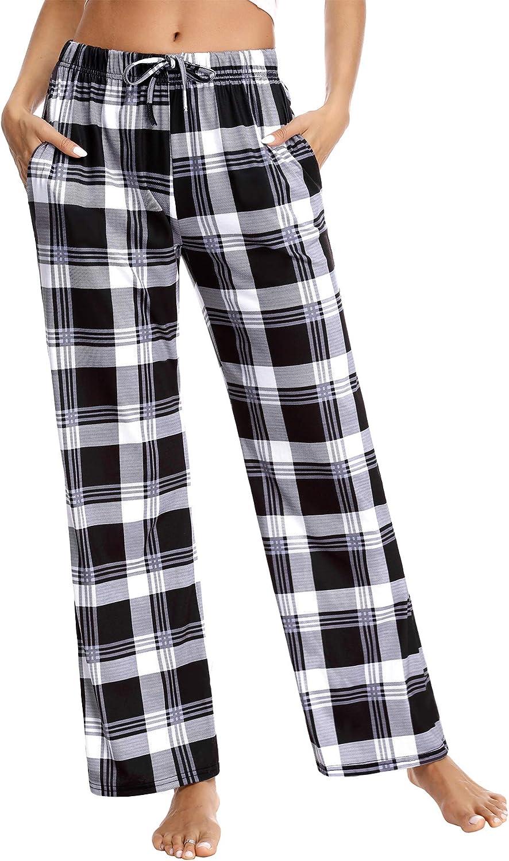 Aibrou Pyjama Bottom for Women Ladies Checked Pyjama Pants Trousers Comfy Casual Sleepwear Lounge Pants