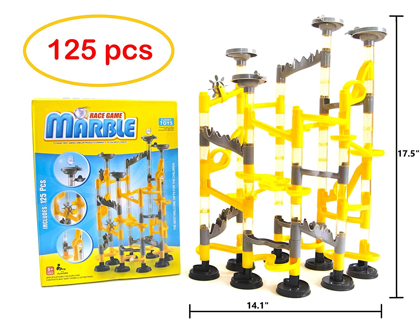 Construction Marble Run Children`s Toy Building Block Track Ball 125 Piece Education Toy Fun Set for Kids