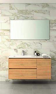 VAROBATH Conjunto de Mueble de baño suspendido, 2 cajones amortiguados y una Puerta con Lavabo de Cerámica, y Espejo Liso - Mueble MONTADO - Modelo TAGUS (80 cms, Hera)