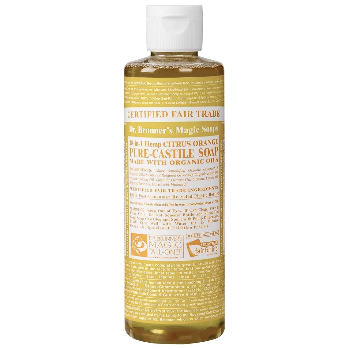 笑いほのかなめらかなDrのブロナー有機シトラスカスティーリャ液体石鹸237ミリリットル (Dr Bronner) (x6) - Dr Bronner Organic Citrus Castile Liquid Soap 237ml (Pack of 6) [並行輸入品]