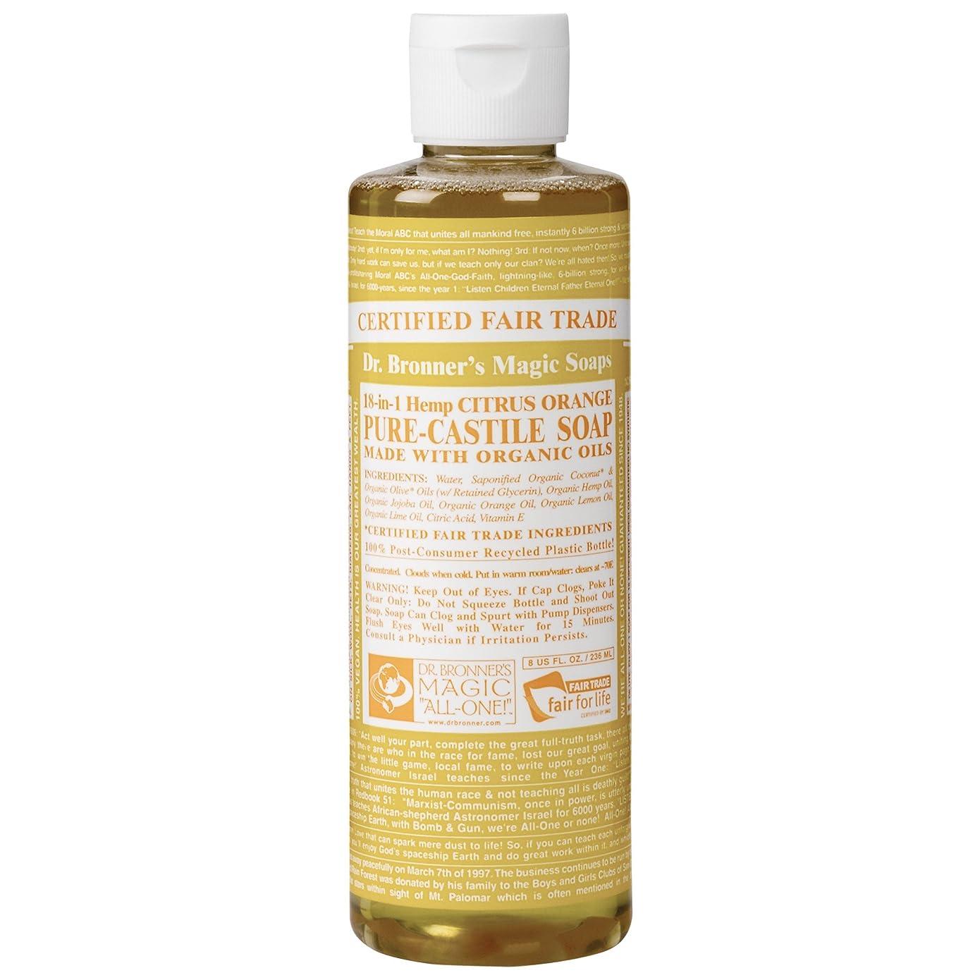 キャラクター勤勉バナーDrのブロナー有機シトラスカスティーリャ液体石鹸237ミリリットル (Dr Bronner) (x6) - Dr Bronner Organic Citrus Castile Liquid Soap 237ml (Pack of 6) [並行輸入品]