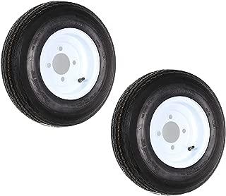 eCustomRim 2-Pack Trailer Tires On White Rims 480-8 4.80-8 4.80 x 8 Load C 4 Lug/4 in.