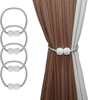 ISIYINER Abrazaderas Magnética para Cortinas Hebilla de Cortina Cuentas de Perlas de Imitación Elegante Soporte de Cortina Magnéticas para Decoración de Familia Oficina 4 Piezas (Gris)