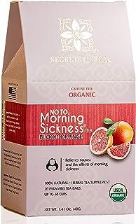 Secrets of Tea Morning Sickness Relief Tea - Blood Orange Tea - Pregnancy Tea for Constipation Relief & Nausea Relief for Pregnant Women - USDA Organic Caffeine Free Tea - Up to 40 Servings.