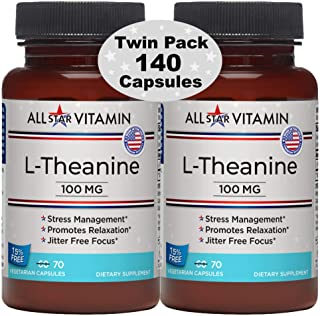 L-Theanine, 100 mg, 70 Vegetarian Capsules, 2 Pack (140 Total), Stress Free, Relaxation, Focus, Non-GMO, Gluten Free, All-...