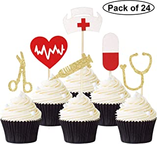 Pack of 24 Nursing Cupcake Toppers Nurse Graduation Cupcake Picks Glitter Medical Rn Themed Cake Picks Nursing Themed Party Decorations Supplies