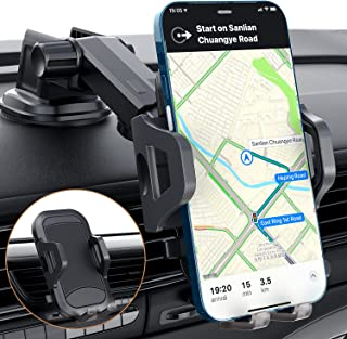 Muson Car Phone Mount, Dashboard/Air Vent/Windshield Phone Holder for car with 360° Rotation&Extended Arm Stable Car Phone...