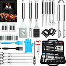 AISITIN 35Pcs BBQ Grill Grilling Accessories Tools Set, 16'' Barbecue Tool Set with Thermometer, Steel Fork, Stainless Ste...