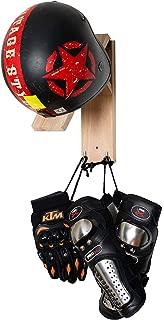 Azonten1 Wood Helmet Hanger + Helmet Holder + Wooden Helmet Rack Wall Mount Motorcycle Holder Shelf Rack Storage Fixation Mount on Wall Wood Helmet Rack