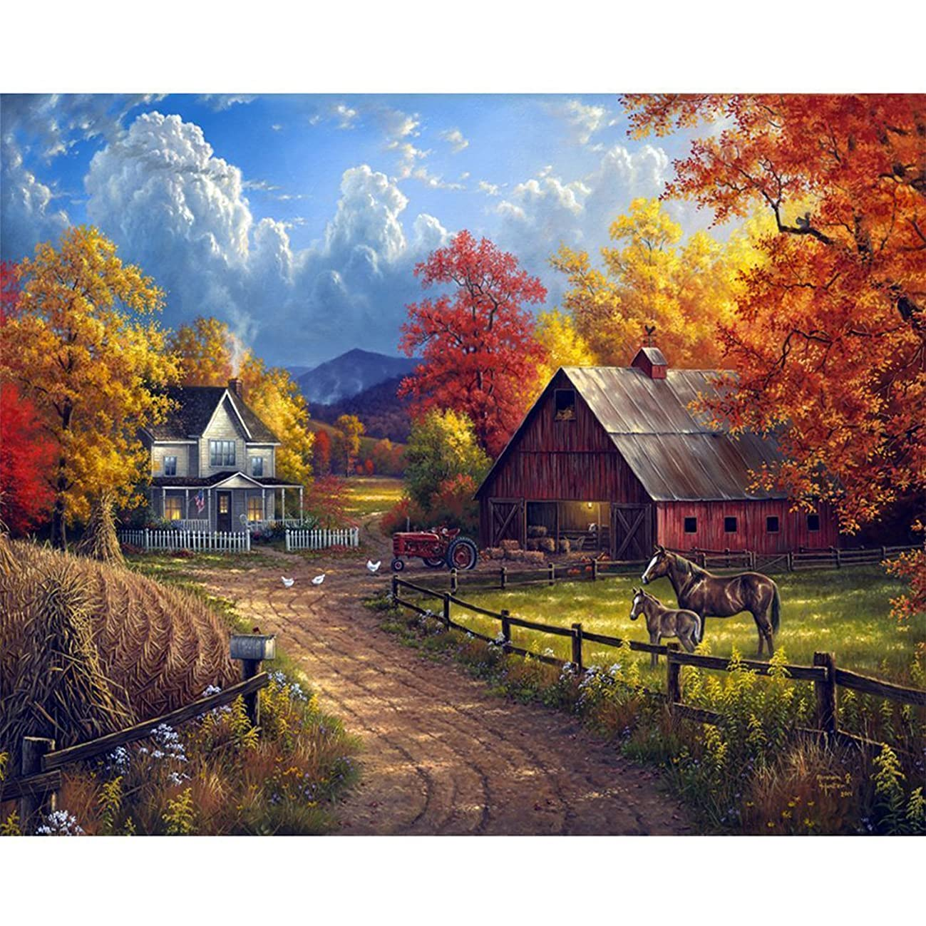 5D DIY Diamond Painting kit Adults Full Drill Arts Crafts Wall Stickers for Living Room Village Farm(12X16 inches)