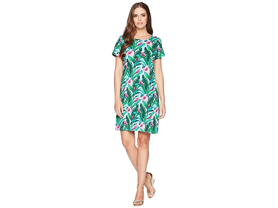 Tommy Bahama Tulum Blooms Short Sleeve T-Shirt Dress (Blue Radiance) Women's Dress