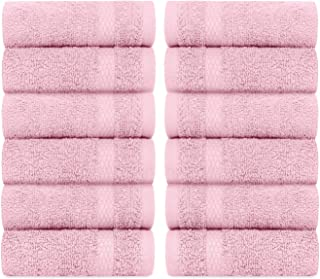 White Classic Luxury Cotton Washcloths - Large Hotel Spa Bathroom Face Towel   12 Pack   Pink