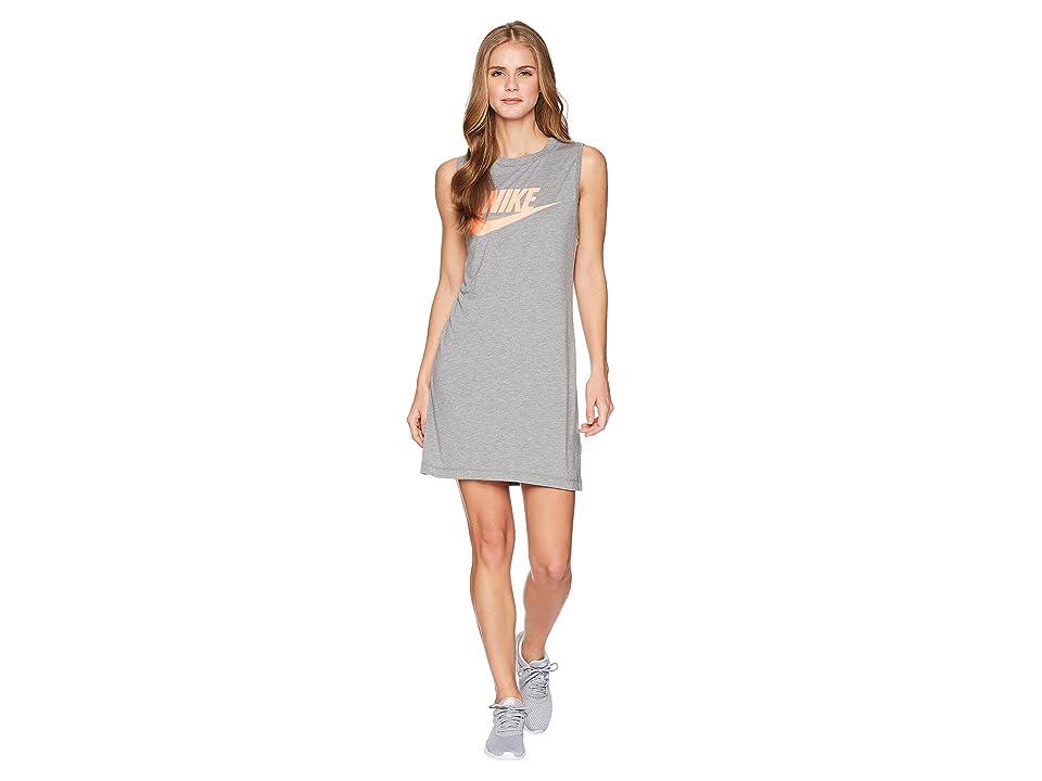 Nike Seasonal Tank Dress (Carbon Heather/Crimson Pulse) Women