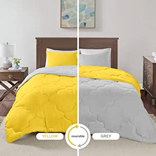 mustard yellow and grey bedding