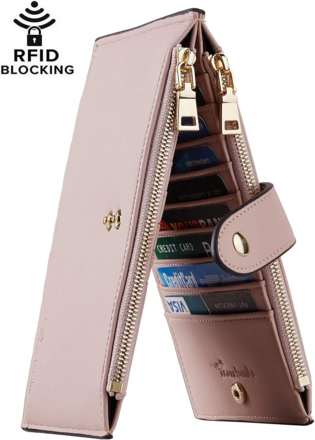 Travelambo Womens Walllet RFID Blocking Bifold Multi Card Case Wallet with Zipper Pocket (Chelsea Pink Champagne)