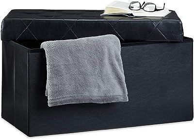 Relaxdays Banc pliant tabouret de rangement pliable rembourré repose-pieds en similicuir HxlxP: 38 x 78 x 38 cm, noir