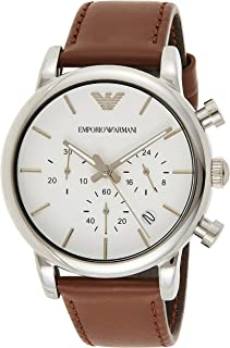 Emporio Armani Classic Men's Silver Dial Leather Band Chronograph Watch (Model: AR1846)