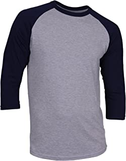 DREAM USA Men's Casual 3/4 Sleeve Baseball Tshirt Raglan Jersey Shirt H Gray/N Blue 2XL
