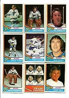 OPC 1974/75 St. Louis Blues Lot of 19 Cards Garry Unger, John Davidson, Ed Johnston, Don Awrey, Barclay Plager, Bob Plager, Wayne Stephenson, Phil Roberto and More