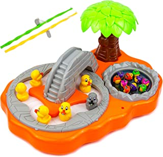 Electric Rotating Magnetic Fishing Game Toy | Comes with Music and Light | Enjoyabale for Kids | Great Gift Idea | 2 Fishing Rods, 10 Fishes, 7 Ducks