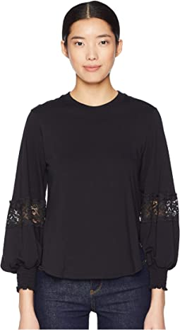 Long Sleeve T-Shirt with Lace Insert