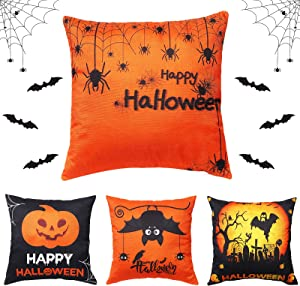 Fall Decor Throw Pillow Covers Set of 4, Halloween Pillow Covers 18X18 Inch Throw Pillow Cases for Happy Halloween Decorations Throw Cushion Cover for Couch Chair Bed Home Décor with Bat Wall Stickers