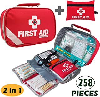 2-in-1 First Aid Kit (215Piece) + Bonus 43Piece Mini First Aid Kit -Includes Eyewash, Ice(Cold) Pack, Moleskin Pad, CPR Face Mask & Emergency Blanket for Travel, Home, Office, Car, Workplace