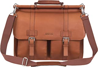 "Kenneth Cole Reaction Colombian Leather Dual Compartment Flapover 15"" Laptop Dowelrod Business Portfolio, Cognac"