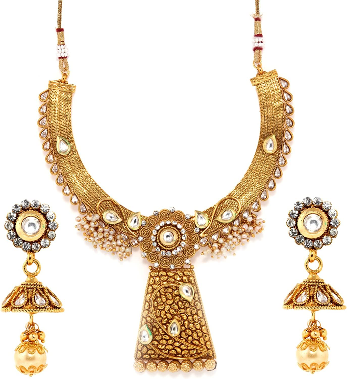Bindhani Women's Bollywood Style Jewelry Designer Bridal Bridemaids Crafted Brides Gold Plated Kundan Faux Pearl Drop Necklace Earrings Tikka Set Indian Party Wear Fashion Jewellery Set for Wedding