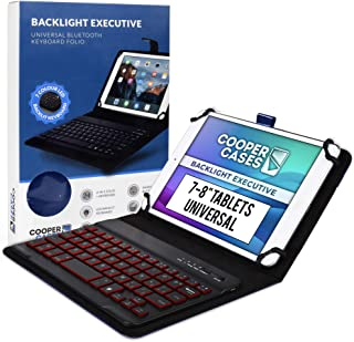 Cooper Backlight Executive Keyboard Case for 7-8 Inch Tablets | Universal Fit | 2-in-1 Bluetooth Keyboard & Leather Folio,...