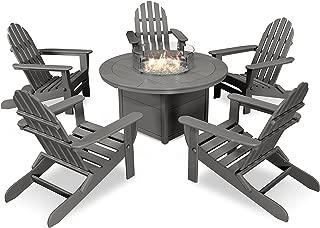 POLYWOOD Classic Folding Adirondack 6-Piece Conversation Set with Fire Pit Table (Slate Grey)