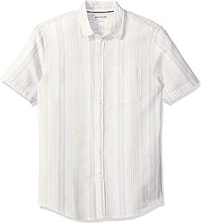 comprar comparacion Amazon Essentials Camisa de Algodón de Lino de Manga Corta Ajustada Button-Down-Shirts Hombre