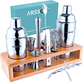 ARSSOO Professional Bartender Kit - 15PC Cocktail Kit Set with Stylish Bamboo Stand - Double Large Capacity Shakers & Long...
