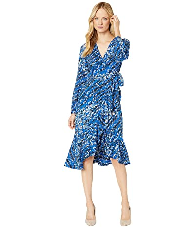 Calvin Klein Printed Faux Wrap Dress (Regatta Multi) Women