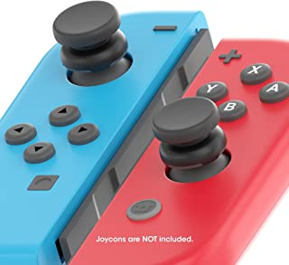 TechMatte Nintendo Switch ThumbStick Grip, Joy-Con Thumbstick Adapter Grip Caps Designed for The Nintendo Switch for Better Grip, Precision Aiming Perfect for FPS Like Doom, L.A. Noire, Skyrim (Grey)