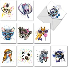 Funky Colorful Creatures - 10 Watercolor Boxed Blank Cards with Envelopes (4 x 5.12 Inch) - Cute Animals, All Occasion Note Cards for Kids, Adults - Colorful Painted Notecard Set AM6749OCB-B1x10
