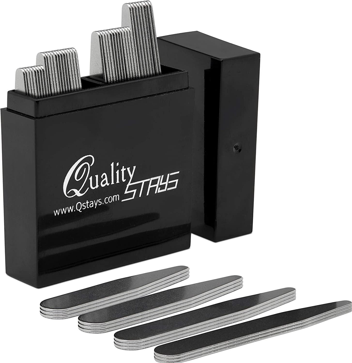 40 Metal Collar Stays- 4 Sizes in a Box for Men