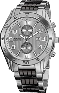 August Steiner Men's Urban Tachymeter Bezel Fashion Watch - Bold Numbers on Dial with Day of Week and Date Subdial on Two ...