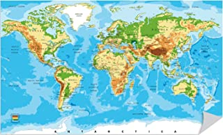 Large World Map Poster Color Print Peel and Stick. 18in X 30in. for School Classroom and Home. Great Tool for Students and Teachers. Educational Guide with Elevation Chart. #6102s