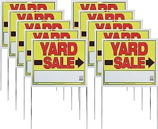 "Sunburst Systems 3908 Yard U-Stake Yard Sale Sign, 22"" x 14"", 10 Pack, Yellow,Red,Black"