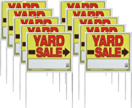 "Sunburst Systems 3908 Yard 10-Pack of Yard Sale Signs with U-Stakes. 22""H x 14""W - Double Sided, Yellow, Red, Black"