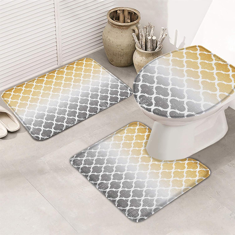 MuswannaA 3 Piece Bathroom Rugs unisex Set Mat New Shipping Free Gray Retro Bath G Yellow
