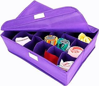 ELYCO PLACE Organiseur de chaussettes, Organiseur de tiroirs, Vêtements intérieurs, Organisateur de placard avec couvercl...